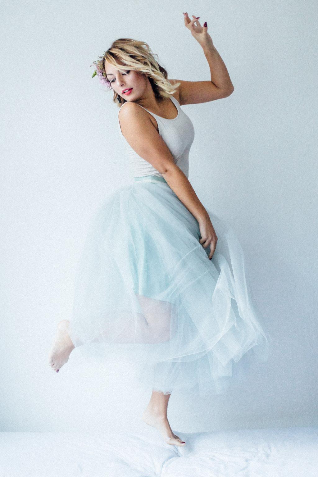 Tüll Brautkleid Zweiteiler Blau