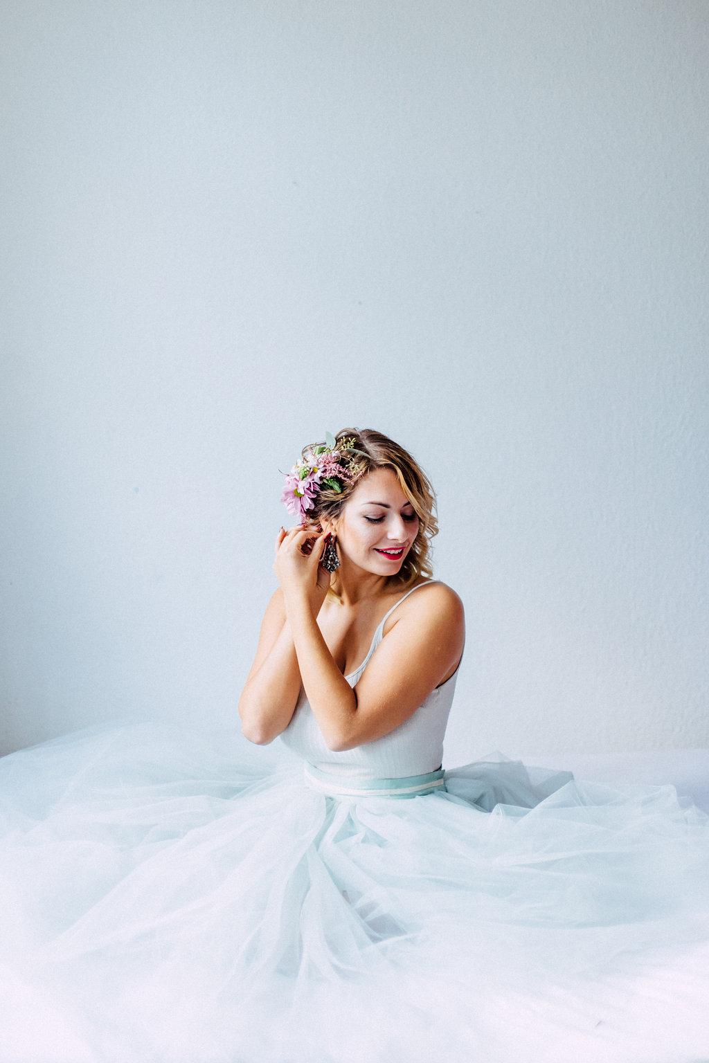 Tüll Brautkleid Zweiteiler Blaugrau