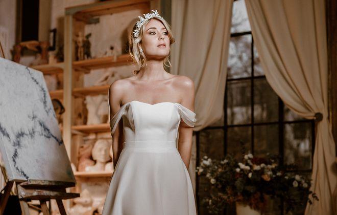 Vokuhila-Brautkleid mit Corsage und Brautrock im Layering Look