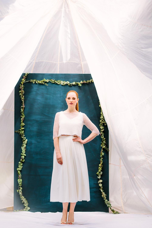 Brautkleid Zweiteiler mit Spitze