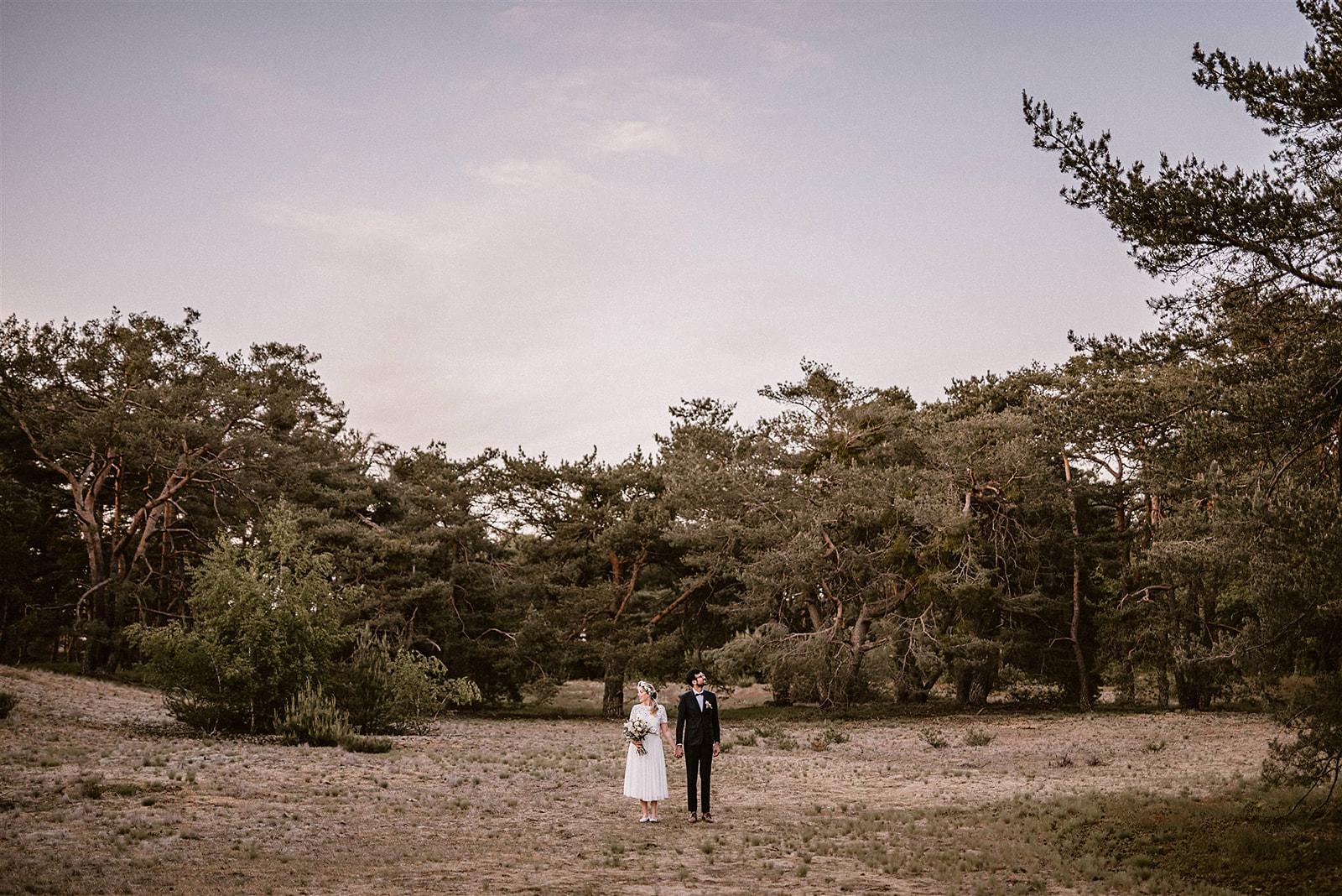 Brautpaar händchenhaltend auf Feld vor Bäumen