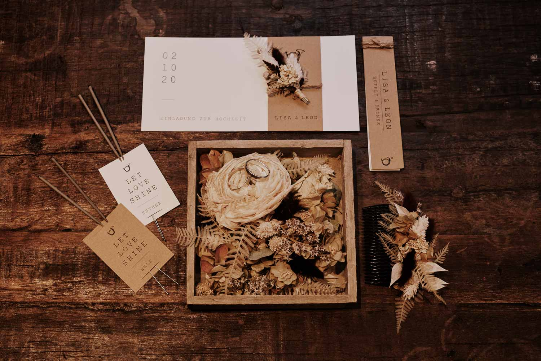 Papeterie, Hochzeitseinladung und Deko für die Rustikale Hochzeit.