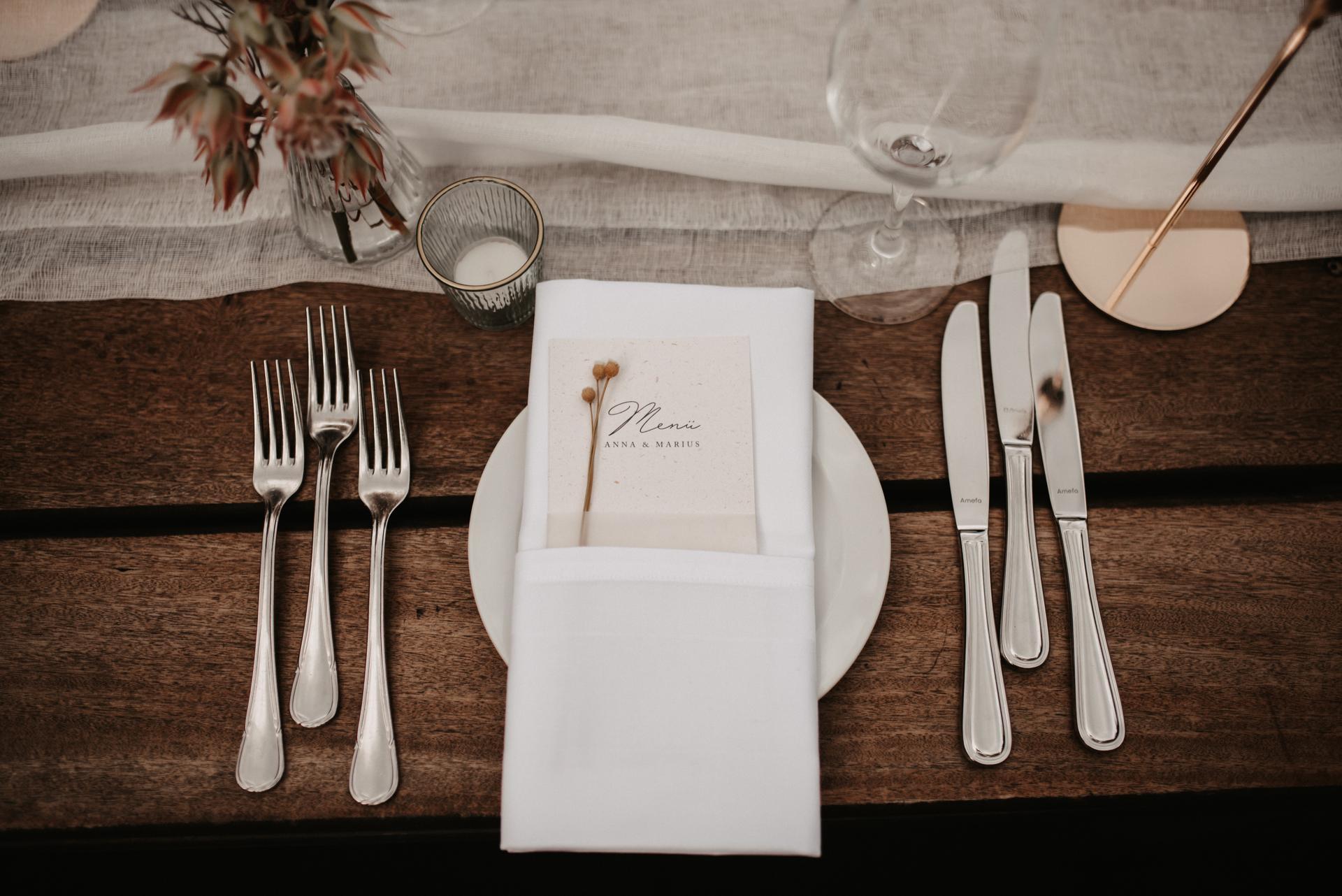 Hochzeitsdeko, Tischedko Detailansicht