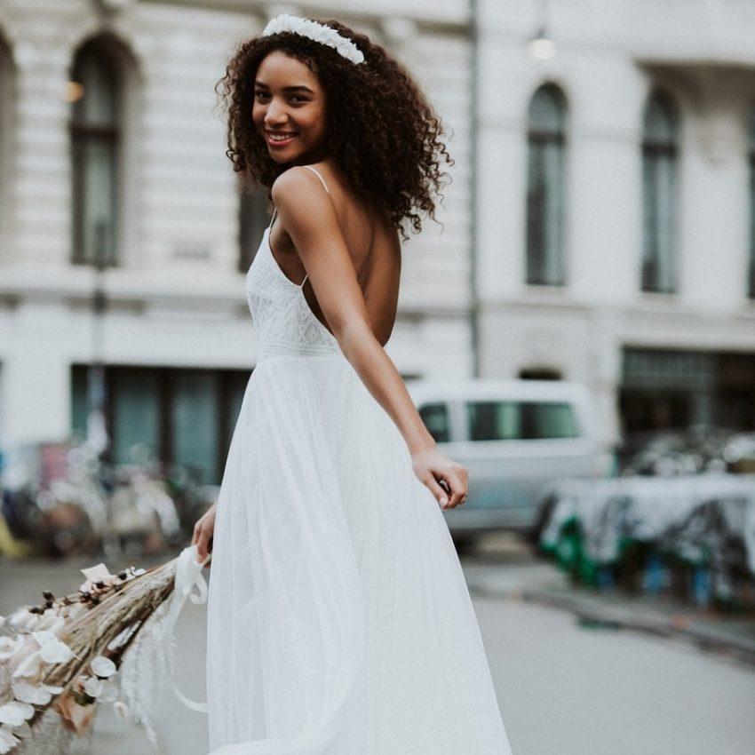 Dawn – Boho-Brautkleid mit tiefem Rückenausschnitt