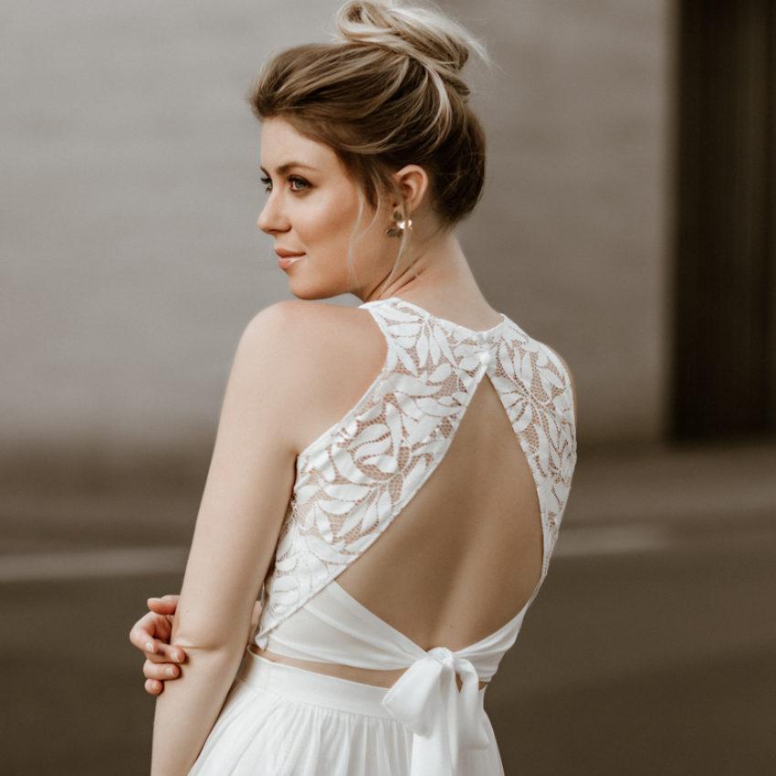 Emilia – Braut Top aus Blätterspitze mit Rückenausschnitt