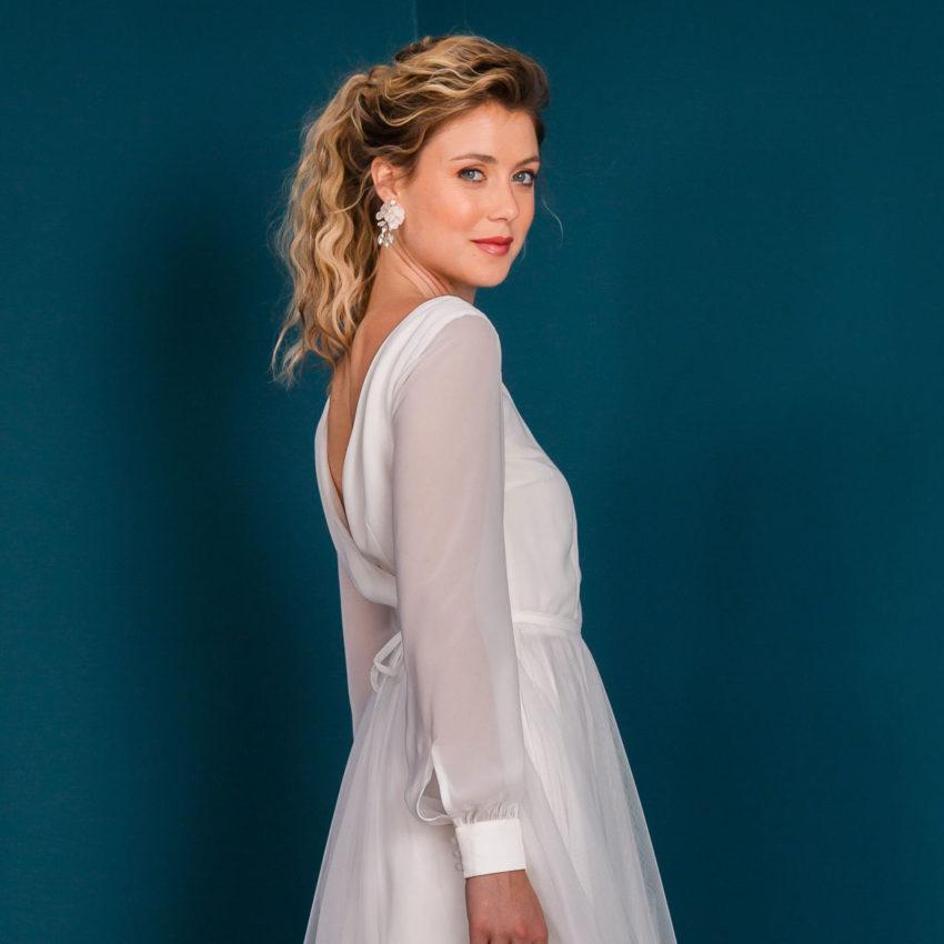 Charlott – Midi-Brautkleid aus Chiffon