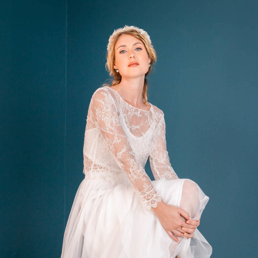 Philine – Florales Braut Top mit Midi-Tüllrock